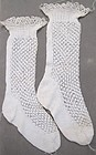 Antique Finely Knitted White Cotton Children's Socks