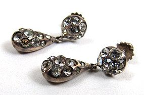 Continental Antique Paste Drop Earrings in .935 Silver
