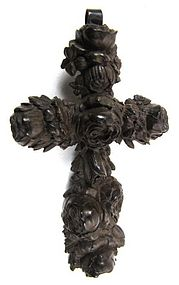 Ornate 19th C Vulcanite Mourning Cross