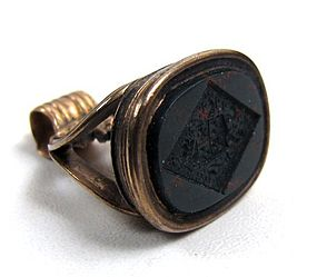 Antique 9k Bloodstone Fob Seal, Intaglio Crest