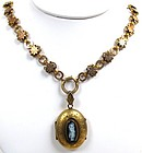 Classic Victorian Gilt Cameo Locket and Ornate Chain