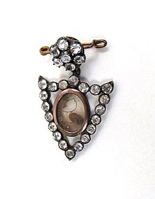 Unusual Victorian Sentimental Paste Brooch, Shield