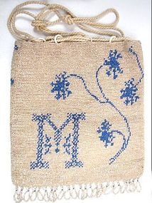 "Antique Beaded Reticule, Initial ""M"""