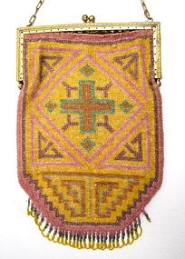 Antique Micro Beaded Rug Design Purse