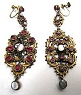 Antique Austro Hungarian Pendant Silver Gilt Earrings