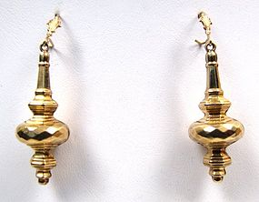 Wonderful Pair of Gold Victorian Pendant Earrings