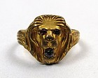 Gilt Metal Art Nouveau Ring, Lion's Head