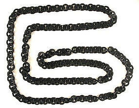 Victorian Vulcanite Mourning Necklace, Long!