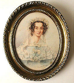 Miniature Portrait Pretty Lady By Combe 1836