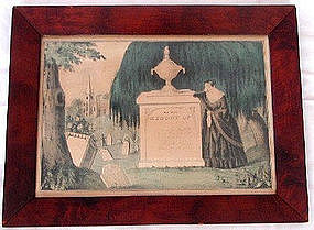 Original N Currier Mourning Print Litho 1848