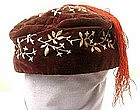 19th C Embroidered Velvet Smoking Cap