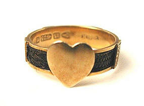 Hair & 15K Mourning Ring, 1895, Heart!