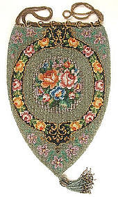 Stunning Antique Beaded Purse  -- Teardrop!
