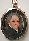 English Portrait Miniature Gentleman, ca 1820