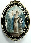 Lovely Georgian Mourning Miniature, Hair Reverse