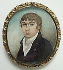 Georgian Portrait Miniature of Gent, Hair Reverse