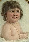 Portrait Miniature of Baby w/ Bracelet, Pendant, Letter
