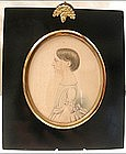 Charming Portrait Miniature of Young Girl, 1820