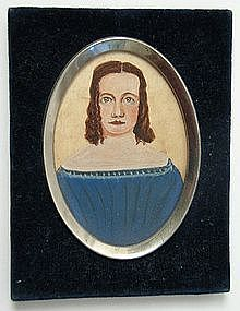 Folk Art Portrait Miniature of Young Woman