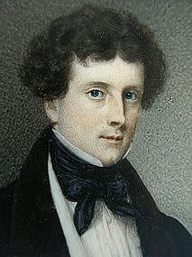 Fine Portrait Miniature of William C. Dobbs, ca 1840