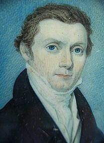 Early 19th C. English School Portrait Miniature of Gent