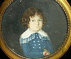 Adorable 19th C Portrait Miniature of Boy with Parrot