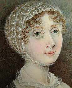 Charming English Portrait Miniature of Lady, 1820