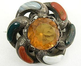 Classic 19th C Scottish Silver and Agate Brooch
