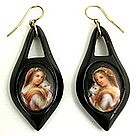 Sweet Victorian Jet Earrings, Shepherdess w/ Lamb