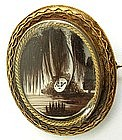 19th C Mourning Hair Work Brooch, Willow