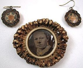 19th C Stag Horn Set, Pin, Earrings, Edelweiss