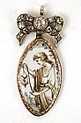 Sepia on Ivory Mourning Pendant, Paste Bow