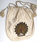 Stunning Antique White Silk Purse, Applique Peacock