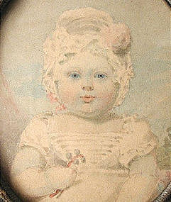 19th C Portrait Miniature of Baby, in Case
