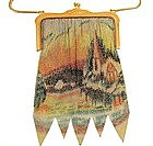 Superb Large Village Scenic Mesh Purse, W & D