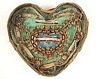 18th C Heart-Shaped Reliquary 9 Relics, Cross