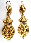 Exceptional Victorian Day-Night Earrings, 18K Gold