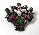 19th C Giardinetti Brooch; Pastes, Marcasites, Pearl
