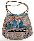Antique English Beaded Purse -- Ship at Sail