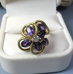 Retro 14k gold amethyst diamond flower ring