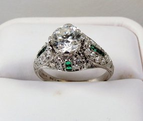 Edwardian platinum diamond emerald engagement ring