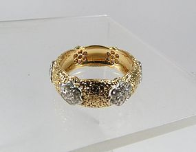 Estate Buccellati 18k gold diamond wedding band ring