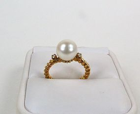 Vintage 18k gold cultured pearl diamond wedding ring