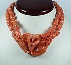 Carved Salmon Coral Flower Choker Necklace