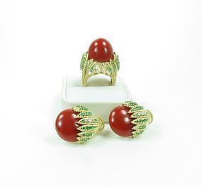18k gold oxblood coral emerald ring earrings Emis