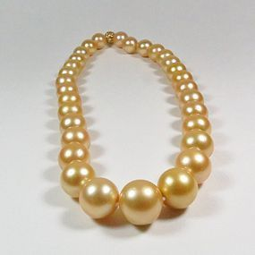 14K Gold Golden South Sea Pearl Necklace