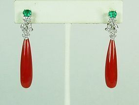 18k white gold red coral emerald diamond earrings