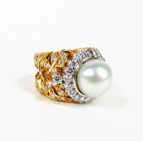 Buccellati 18k Gold South Sea Pearl Diamond Ring