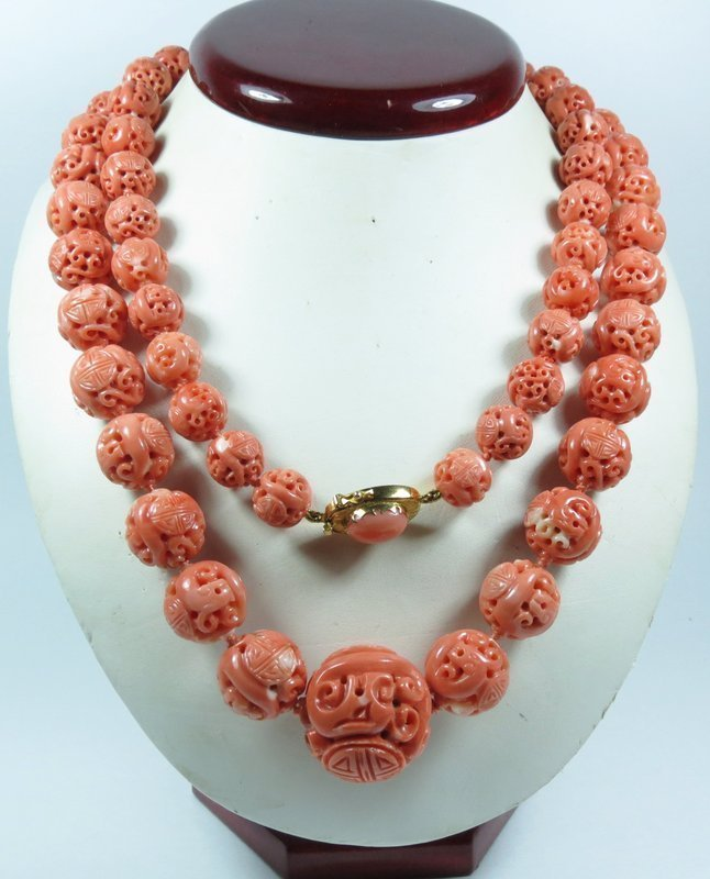 18k gold Chinese carved salmon coral bead necklace
