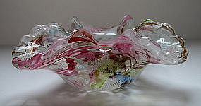 Vintage Murano Fratelli Toso scalloped glass bowl